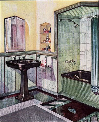 1930 Ad for Robertson Art Tile, via Flickr-----galvanized metal on tub exterior?