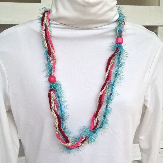 Jewellery necklace handmade crochet necklace with wooden