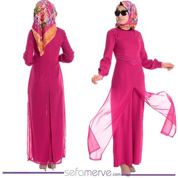 Kargo BEDAVA Fırsatı!  Tulum Elbise 52413-03 Fuşya  #sefamerve #tesetturgiyim #tesettur #hijab #tesettür