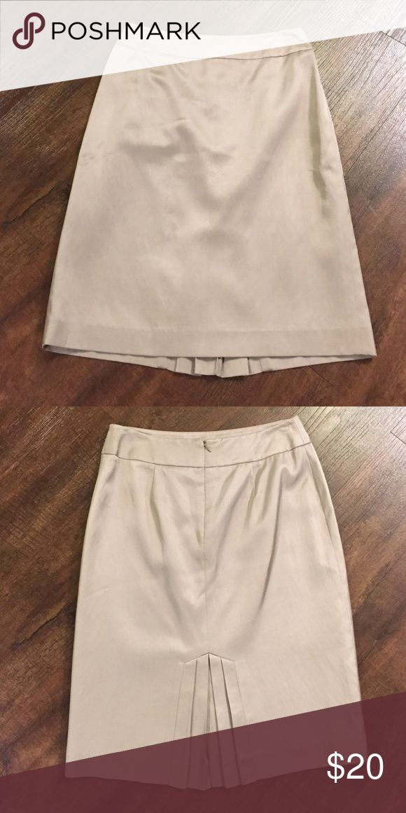 Antonio Melani Khaki Pencil Skirt Khaki pencil skirt with pleated detail in back. Worn a couple of times. Perfect condition. Has a satiny sheen to it. ANTONIO MELANI Skirts Pencil