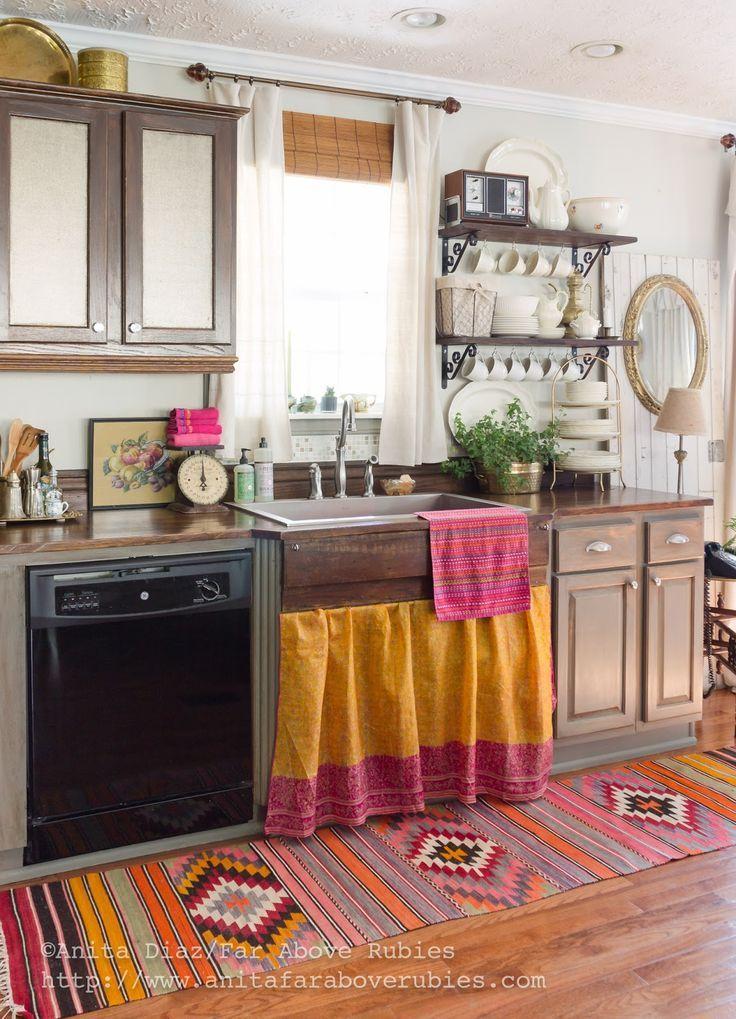 We Love This Bohemian Carpet For Kitchen Decor!Far Above Rubies: Bohemian  Chic Spring Home Tour