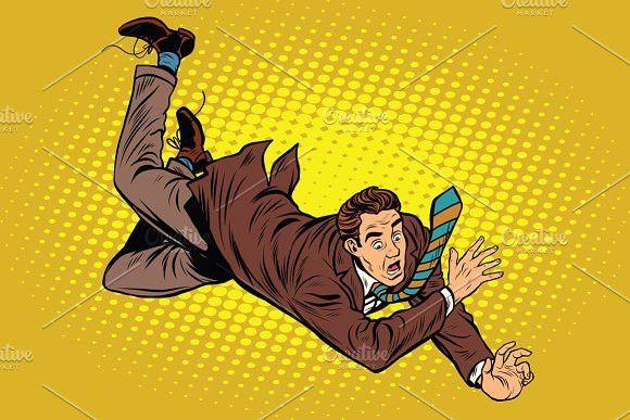 Man Falls Down From A Height Retro Vector Illustration Pop Art Illustration