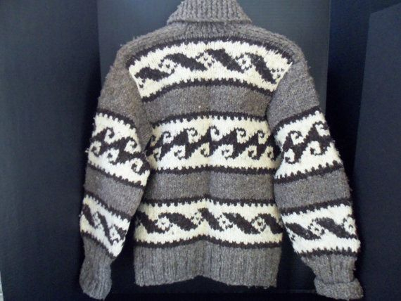 Vintage Cowichan Sweater, probably 1970's, 00% Handspun Wool from British Columbia