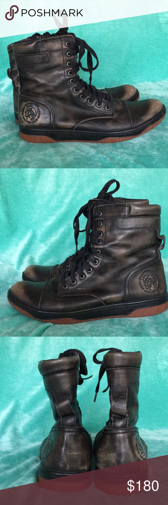 Diesel Boots Only worn a few times, in great condition. Pre- distressed by Diesel. There is a hairline super thin scuff on the right shoe. Size 10.5. Made from treated leather, boot is set on a rubber sneaker sole, providing traction and flexibility. No box.   100% leather Lace-up boot Zip closure Rubber sole Diesel Shoes Boots