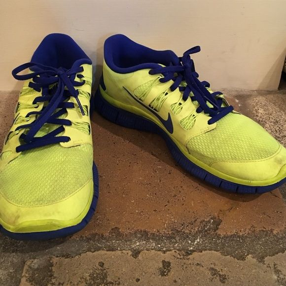 Customized Nike IDs Custom royal blue and neon yellow Nike IDs. No visible wear aside from some discoloration that could be fixed in the wash or with cleaner Nike Shoes Sneakers