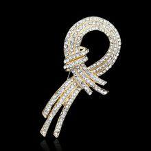 Мода ювелирных изделий ясно кристалл золота или серебра позолоченные уникальный с бантом горный хрусталь кристалл ну вечеринку девушки булавки Brooch свадьба(China (Mainland))