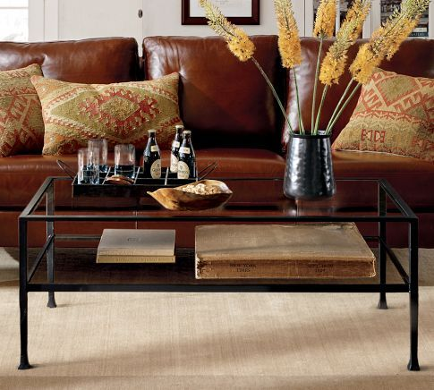 Tanner Coffee Table...iron frame with glass...great for showcasing collectibles or displaying books.