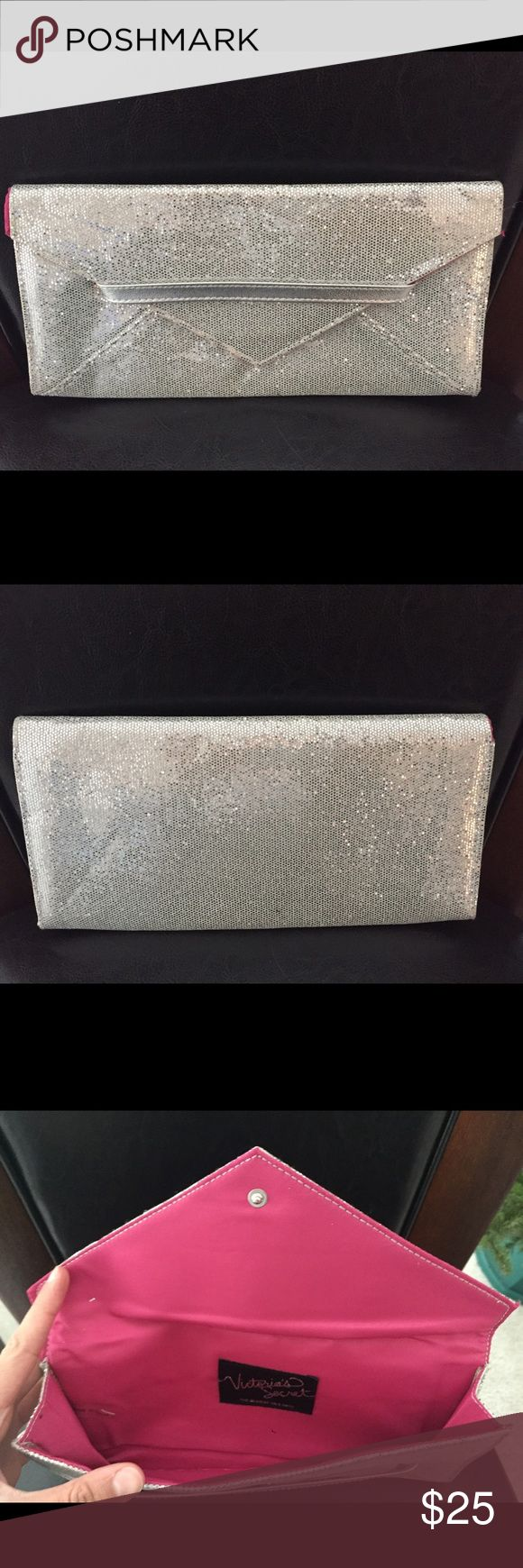 New Victoria's Secret Glitter Clutch Bag NEW Thin and light Victoria's Secret Silver Glitter Clutch Purse. Perfect for a night out, when you don't want to carry a lot of stuff. Victoria's Secret Bags Clutches & Wristlets