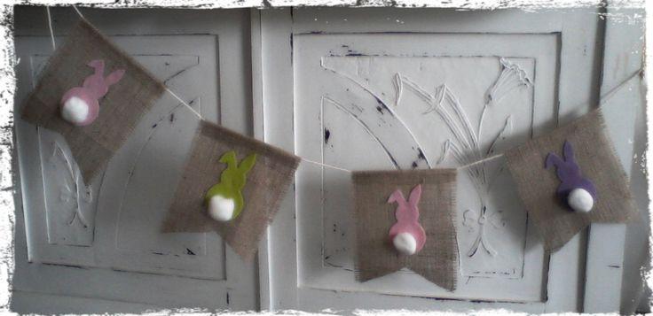 Burlap and felt bunny banner