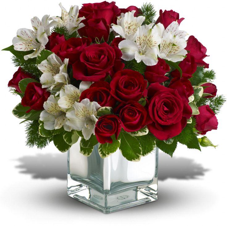 O elegante arranjo de flor de Natal inclui rosas vermelhas, astromélias brancas acentuadas com pittosporum e samambaia ming. Fotografia: Teleflora.com.