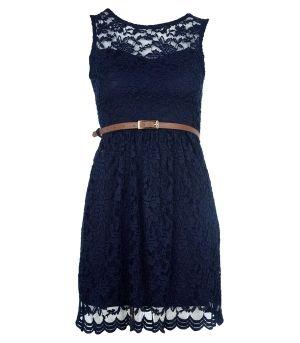 Navy Lace Dress by minaelizabeth:)
