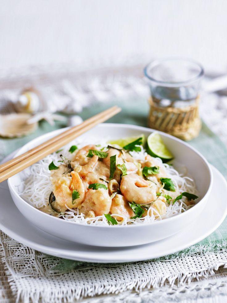 Kokos Shrimps Auf Reisnudeln