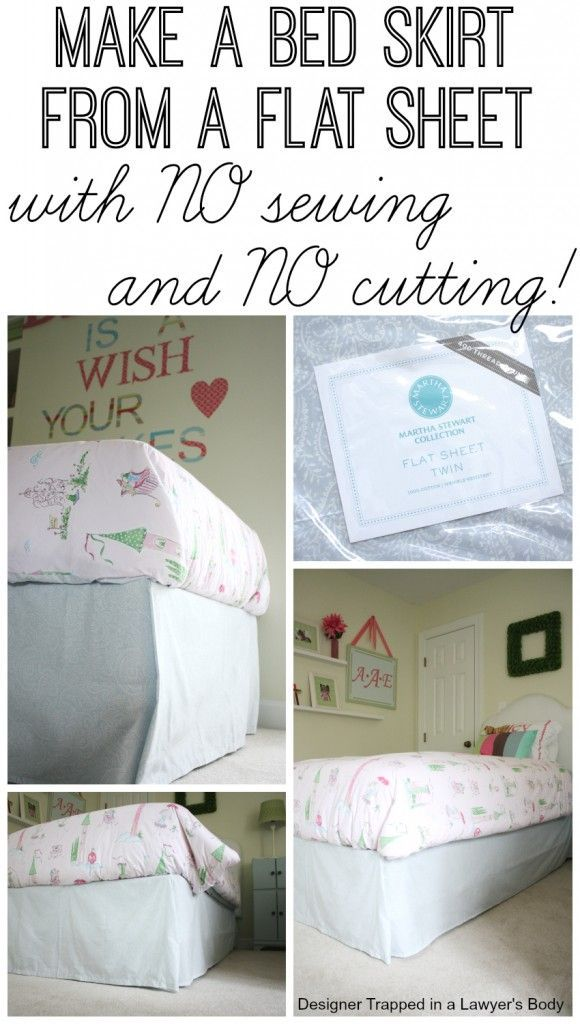 GENIUS! DIY bed skirt from a flat sheet with NO SEWING and NO CUTTING. Full tutorial by Designer Trapped in a Lawyer's Body.