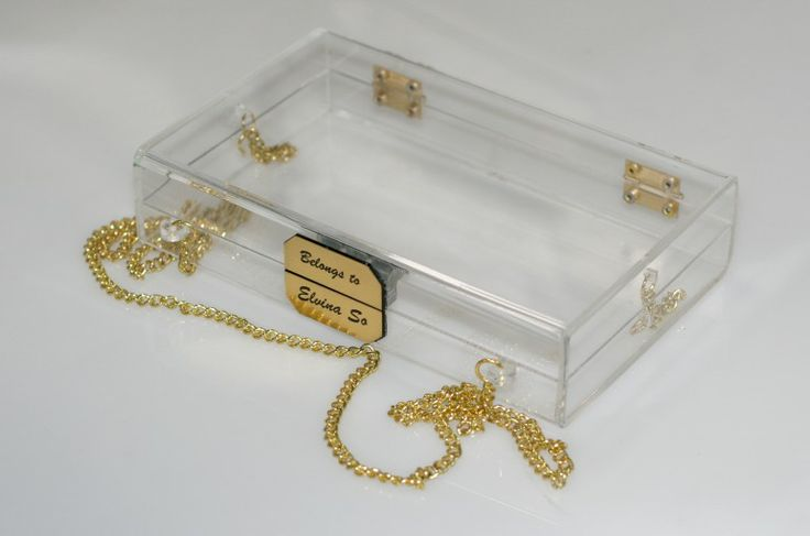 Clear acrylic clutch with gravo gold