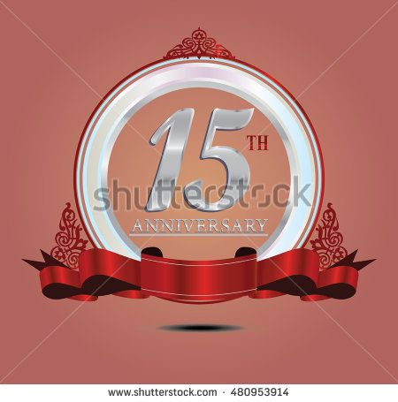 15th anniversary silver logo with indonesia pattern, soft ring color and red…