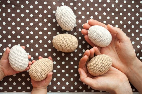 Crochet Wooden Eggs - Neutral Montessori Wooden Toys, Waldorf Toy - Kangaroo…