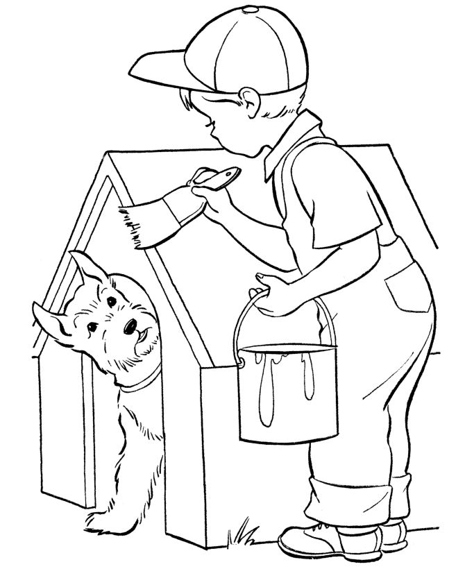 dog house painting dog coloring page - Drawing Books For Boys