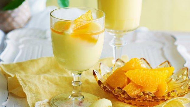 Lemon Posset With Brandied Oranges
