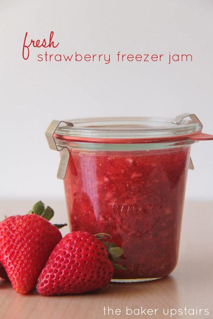 Fresh strawberry freezer jam from The Baker Upstairs. Amazingly easy to make, and bursting with fresh fruit flavor. Plus, it's low sugar, so you don't have to feel guilty for indulging!  www.thebakerupstairs.com