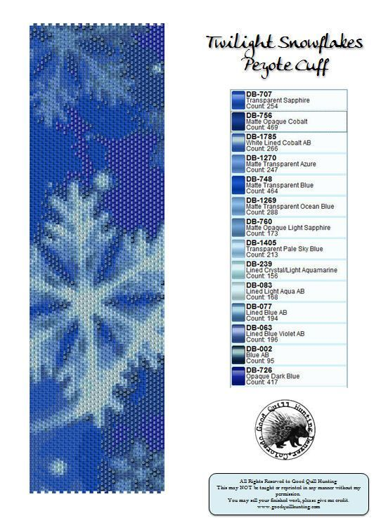 Twilight Snowflakes Peyote Pattern