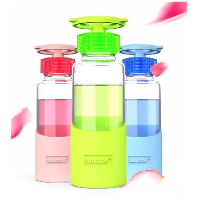 High Quality Faucet Shape Borosilicate Glass Bottle with Eco-friendly Against Hot Silicone Cover 360ml Outdoor Drinkware botella