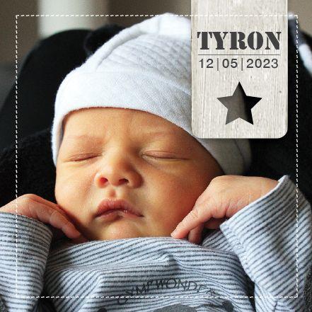 Geboortekaartje Ryron www.hetuilennestje.nl Foto, label, ster.