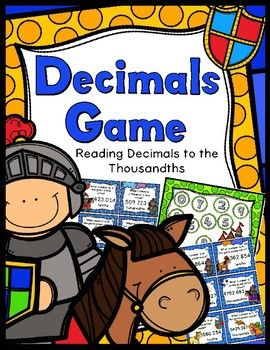 Decimals Game - Reading Decimals to the ThousandthsSuper fun activity for students to practice reading large decimal numbers.40 decimal task cards, 3 game boards (1 per player), instruction/title cards, and an answer keyCCSS.Math.Content.5.NBTA.3Enojy!CSL...a teacher's helper