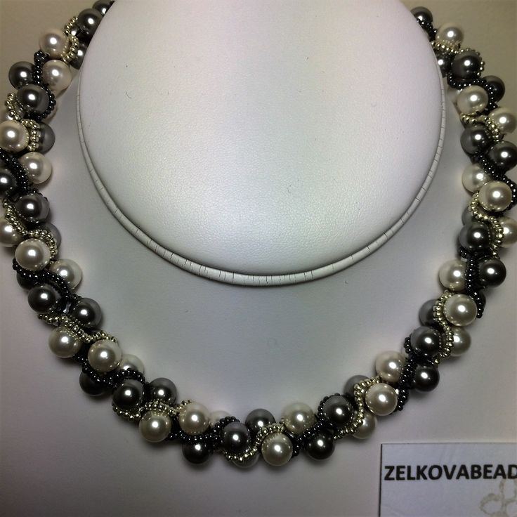 Zelkova Beads Crochet  Swarovski Pearl Creamrose/Lt Grey $60