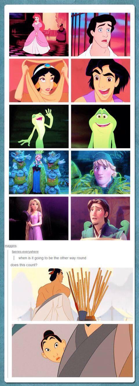 Disney Princess with their princess ogling over them