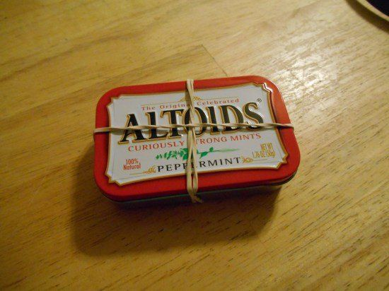 I love having a small handy kit for emergencies in the car or back pack and altoids mints tins, gift cards or other tins work great! Stuff with what you feel yo…