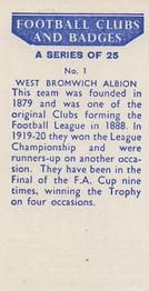 1958 Football Clubs and Badges #1 West Bromwich Albion Back