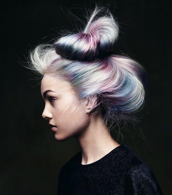 Messy bun by Angelo Seminara. Love the rainbow hair color design too! #hotonbeauty hotonbeauty.com #messyupdo #rainbowhair