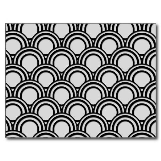 Rétro motif noir et blanc d'abrégé sur art déco cartes postales