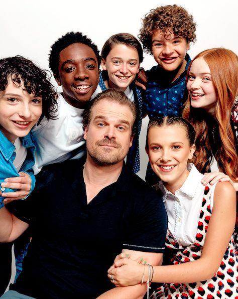 Finn Wolfhard, Caleb McLaughlin, Noah Schnapp, Gaten Matarazzo, Sadie Sink, David Harbour and Millie Bobby Brown from Netflix's 'Stranger Things
