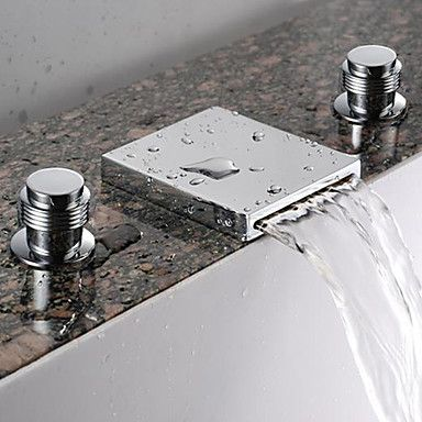Two Handles Waterfall Bathroom Sink Faucet (Widespread)   Chrome Finish  Basin Mixer Tap