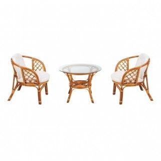 Fotel rattanowy Marocco OPP 70 x 49 x 75 cm jasnobrązowy