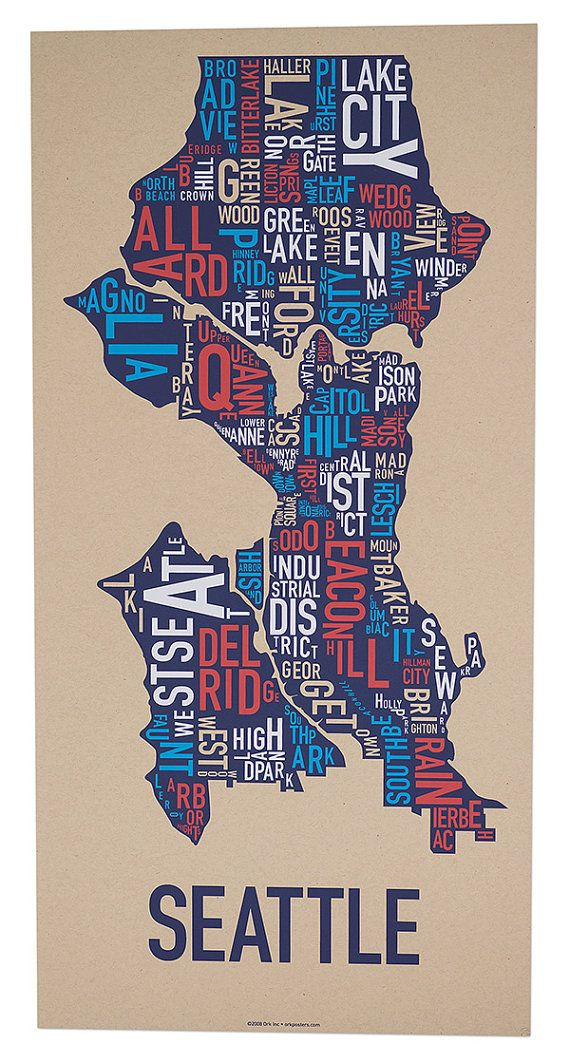 Chicago Map With Neighborhood Names%0A Seattle Neighborhood Map by Ork Posters by orkposters