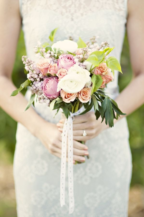 rose and lilac wedding bouquet by Layers of Lovely
