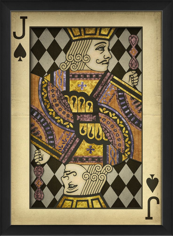 Jack of Spades Harlequin Playing Card Framed Graphic Art