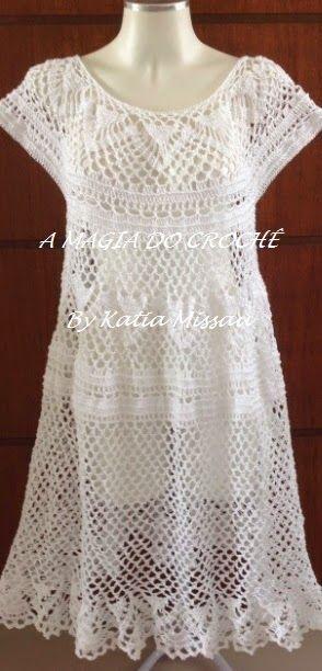 A MAGIA DO CROCHÊ: Vestido Plus Size de Crochê - Vestido Morgana