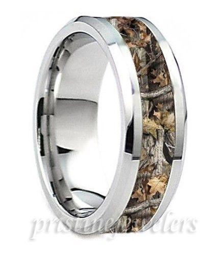 Titanium Mens Camouflage Ring Silver Mossy Oak Hunter Hunting Camo Wedding Band #8mmComfortFitBand