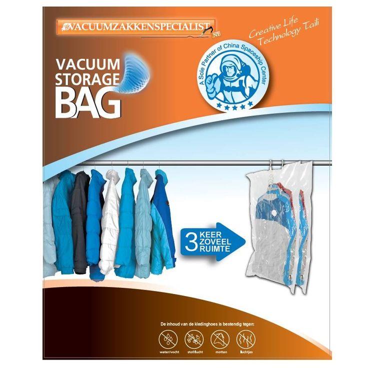 Deze professionele hangende vacuümzak 135x70cm is ideaal om hangende kleding vacuüm op te bergen. Het speciale ventiel zorgt ervoor dat de zak goed vacuüm bl...