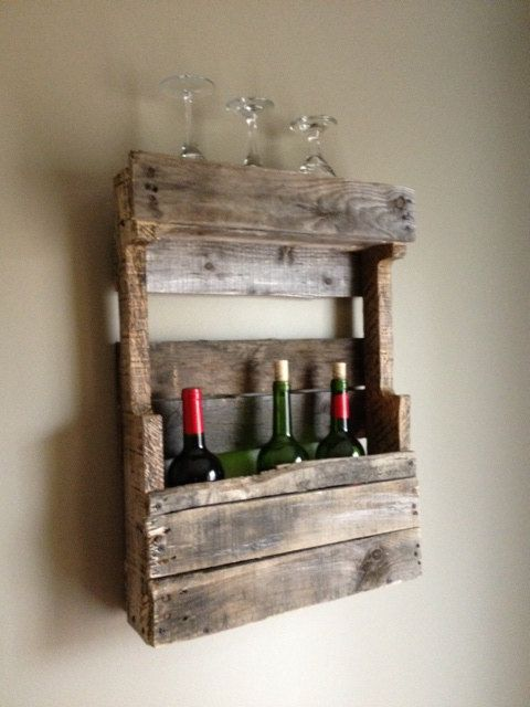 Rustic Wine Rack Pallet Artshelvingshelf Organizerreclaimed