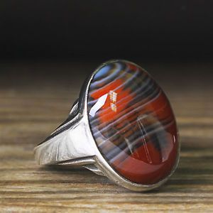 Men Silver Ring 925 K Sterling Silver Red Agate Natural Gemstone 8.5 US size