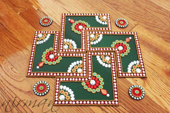Kundan Rangoli Bollywood inspired Acrylic floor art by Nirman