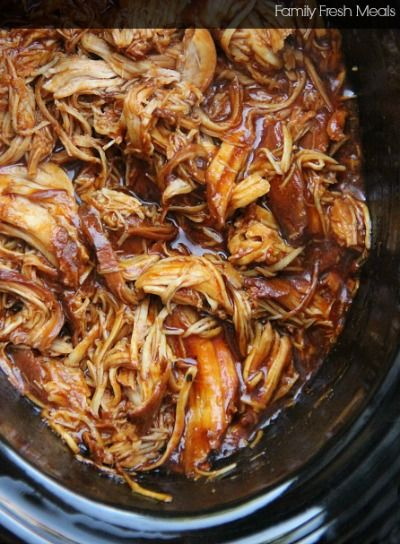 Crockpot BBQ chicken. Made this for my sons bday party and everyone liked it! For me it was a little on the sweet side but after it settled the next day it was much better!