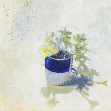 Barnhill primroses in a coffee cup Greeting Card.   Kurt Jackson Editions
