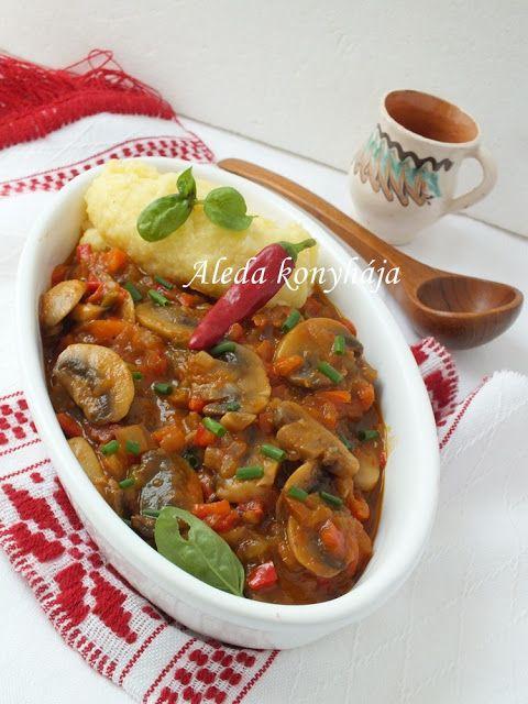 Aleda konyhája: Zöldséges gombaragú - Ragot de ciuperci cu gogoșari