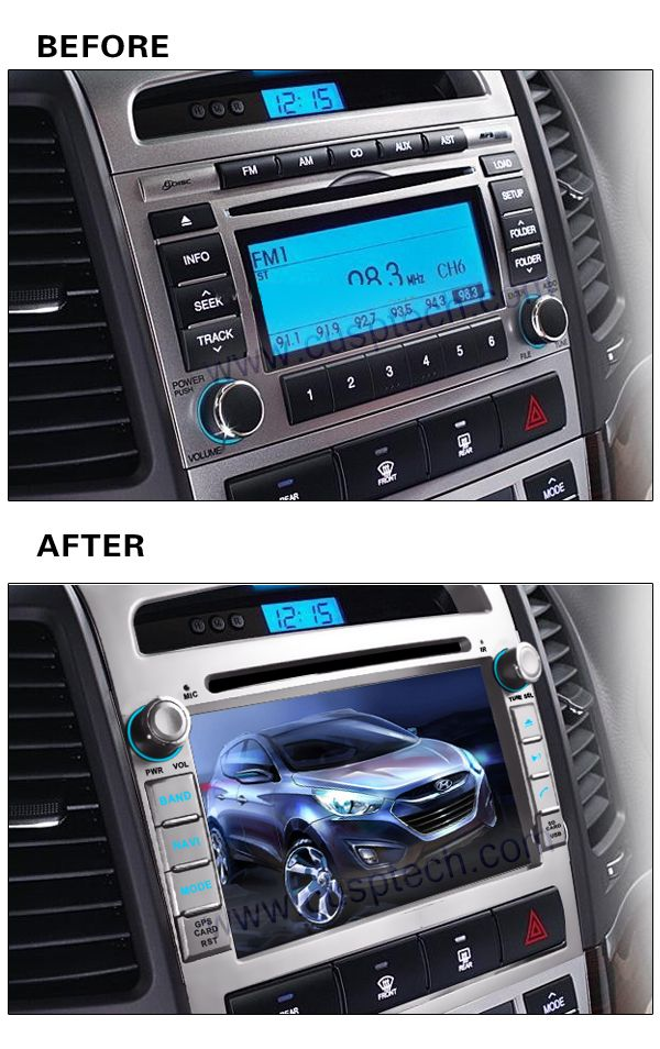 ROM 16G 1024*600 Quad Core Android 5.1.1 Fit HYUNDAI SANTA FE 2006 2007 2008 2009 -2012 Car DVD Navigation Player GPS 3G Radio