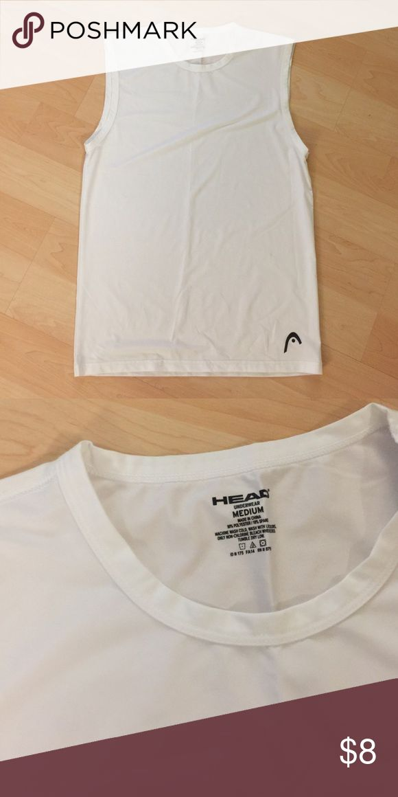 """Men's workout tank- brand """"Head"""" New without tags. Dri fit material. """"Muscle shirt"""" great for gym or playing sports. Bright white- no stains Head Shirts Tank Tops"""